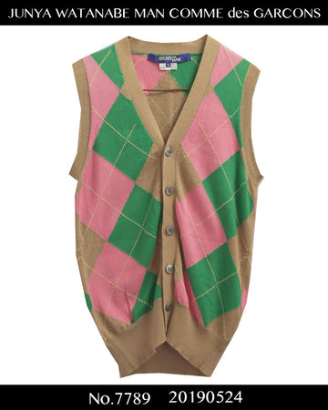 JUNYA WATANABE MAN COMME des GARCONS / Colorful Argyle Cardigan Vest / 7789 - 0524 47.5