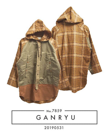 GANRYU / Hybrid Military Nylon Nel Hooded Shirt / 7859 - 0531 108