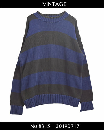vintage / OLD GAP Border Cotton Knit Sweater / 8315 - 0717 80.5
