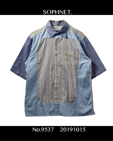 SOPHNET. / Collage Strype Shirt / 9537 - 1015 72.8