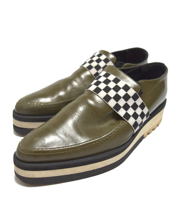 UNDERCOVER / Olive Leather Slip-on Shoes