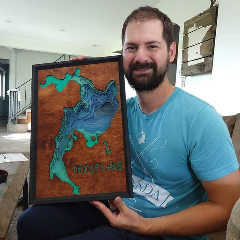 Mitch with his first completed lake map - Trout Lake