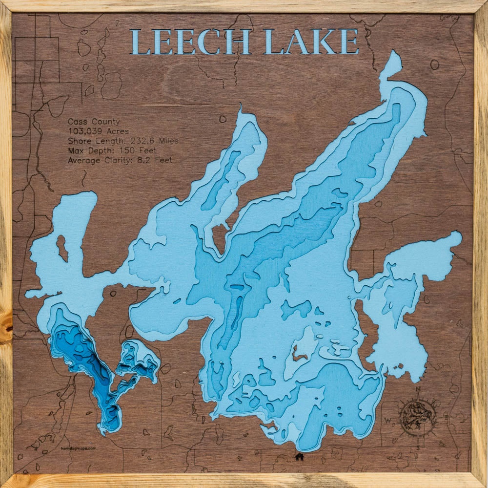 Leech Lake in Cass County MN. Dark top layer with Blue Stained Pine Frame.