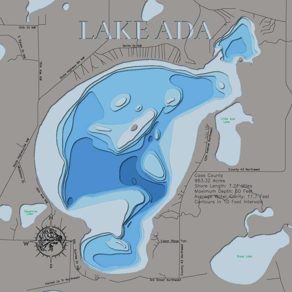 3d Lake Map of Lake Ada in Cass County, MN