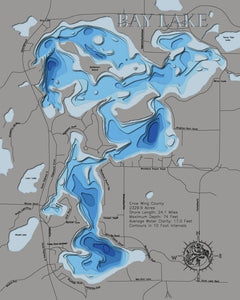 3d Depth Map of Bay Lake in Crow Wing County, MN