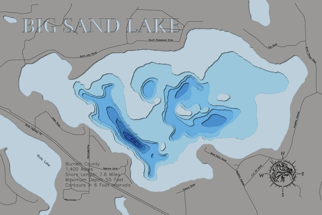 3d Depth Map of Big Sand Lake in Burnett County, Wisconsin
