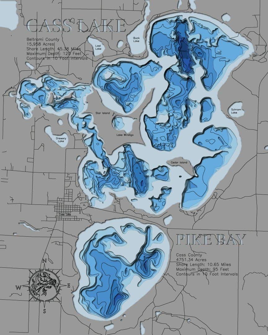 3d Depth Map of Cass Lake in Beltrmai County, MN and Pike Bay in Cass County, MN