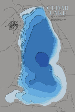 3d Depth Map of Cedar Lake in Polk County, Wisconsin