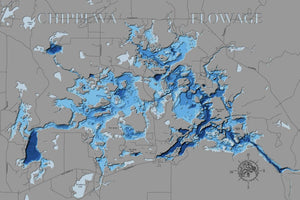 3d Lake Map of Chippewa Flowage in Sawyer County, WI