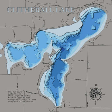 3d Depth Map of Clitherall Lake in Otter Tail County, MN