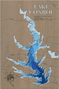 3d Depth Map of Lake Conroe in Montgomery and Walker County, TX