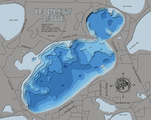 3D Lake map of Darling Lake in Douglas County, MN