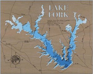 3d Depth Map of Lake Fork in Hopkins, Rain, and Wood, Texas