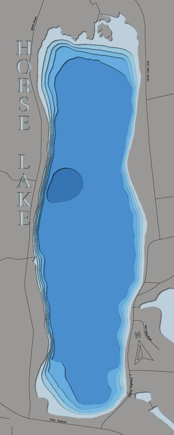 3d Depth Map of Horse Lake in Polk County, Wisconsin