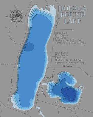 3d Depth Map of Horse and Round Lakes in Polk County, WI