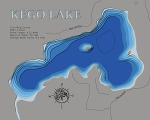 3d Depth Map of Kego Lake in Crow Wing County County, MN