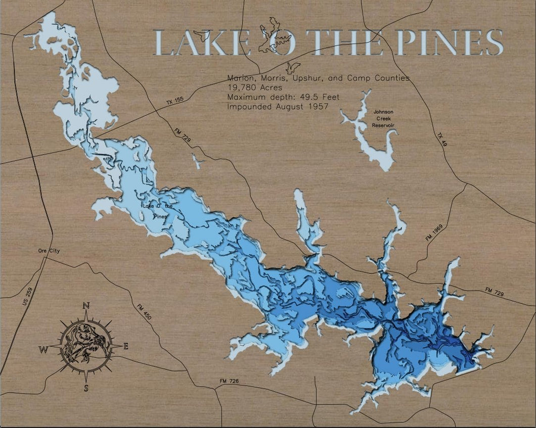 3d Depth Map of Lake O' The Pines in Marion, Morris, Upshur, and Camp Counties, Texas