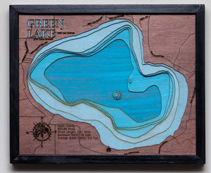 3d Lake Map of Green Lake in Isanti County, MN