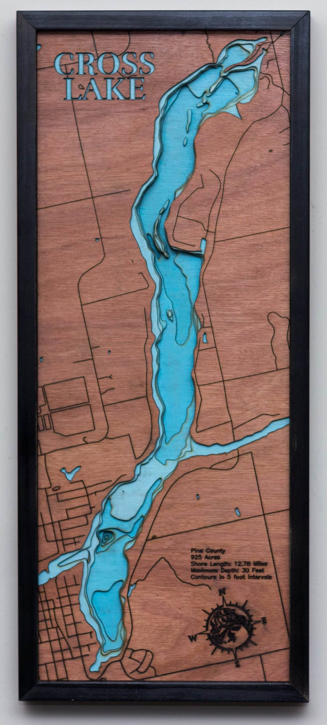3d Lake Map of Cross Lake in Pine County, MN