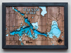 3d Lake Map of Balsam Lake in Polk County, WI