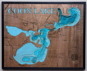 3d Lake Map of Coon Lake in Anoka County, MN
