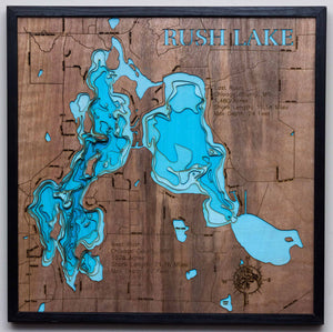 3d Lake Map of Rush Lake in Chisago County, MN