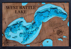 3d Depth Map of West Battle Lake in Otter Tail County, Minnesota