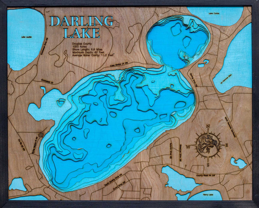 3d Depth Map of Darling Lake in Douglas County, MN