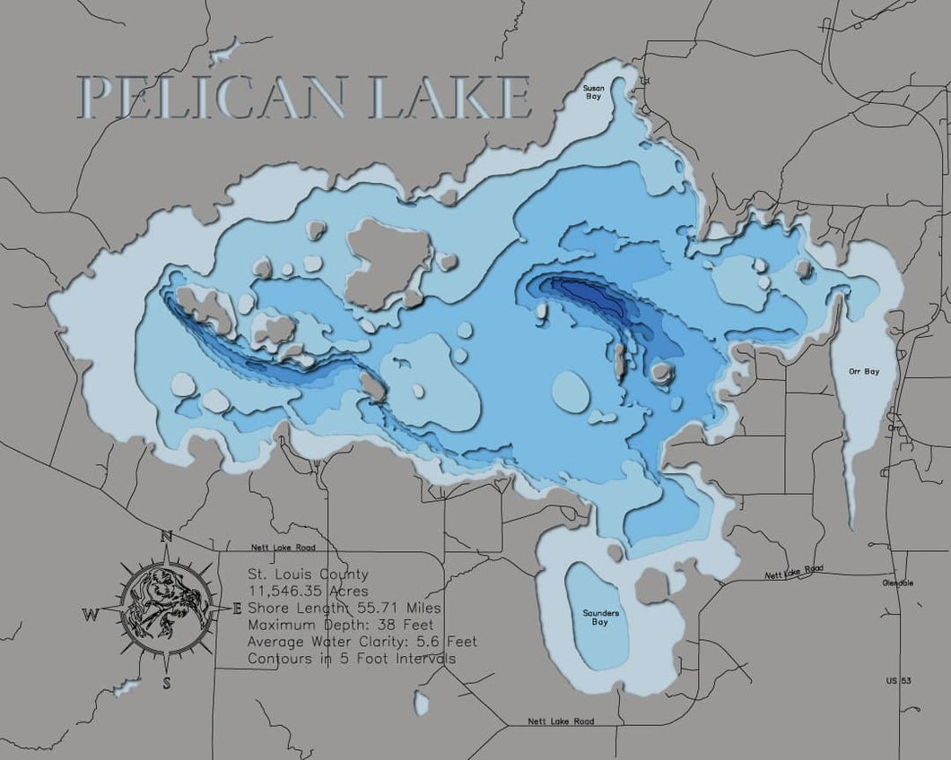 3d Depth Map of Pelican Lake in St. Louis County, MN