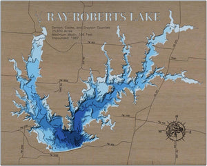 3d Depth Map of Ray Roberts Lake in Denton, Cook, and Grayson County, Texas