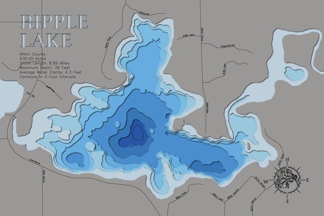 3d Depth Map of Ripple Lake in Aitkin County, MN