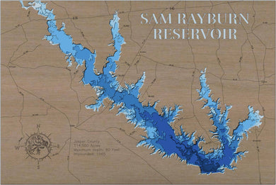 3d Depth Map of Sam Rayburn Reservoir in Jasper County, TX