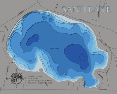 3d Depth Map of Sand Lake in Sawyer County, WI