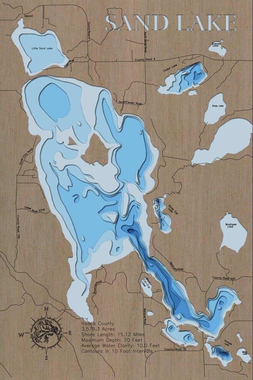 3d Depth Map of Sand Lake in Itasca County, MN