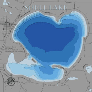 Laser Cut Lake Map of Shell Lake in Washburn County, WI