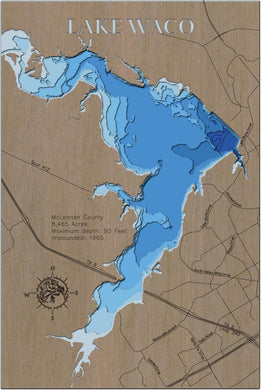3d Depth Map of Waco Lake in McLennon County, TX