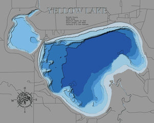 3d Depth Map of Yellow Lake in Burnett County, WI