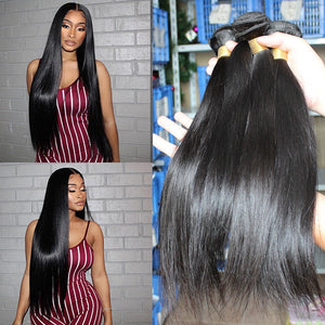 Straight Brazilian Virgin Hair Bundles 12 A