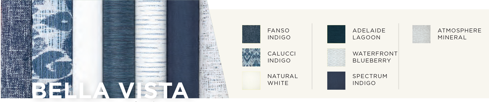outdoor fabric color story with shades of blue and cream
