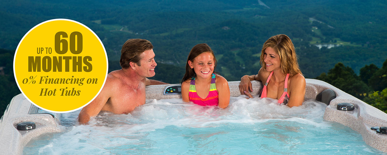 Family soaking in a Hot Tub