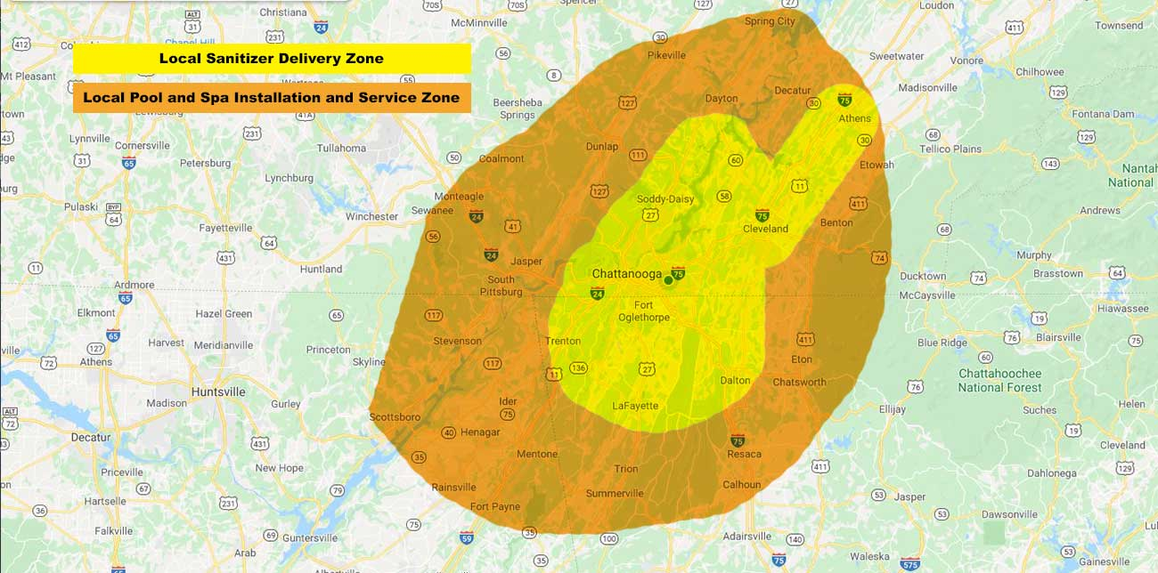 Chattanooga & Cleveland TN Local Delivery Map