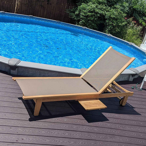 Lounge Outdoor Chaise Pool Chair with Pull-Out Tray
