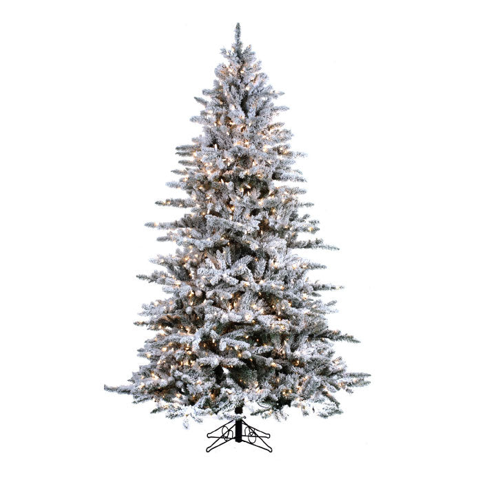 Mountain Pine Flock 7.5' Pre-Lit Permanent Christmas Tree (800 Staylit CL) by Santa'S Own - 339FSL