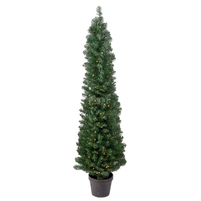 Potted Spruce w/Cones 5' Pre-Lit Permanent Christmas Tree (200 CL) by Regency Trees - 37L