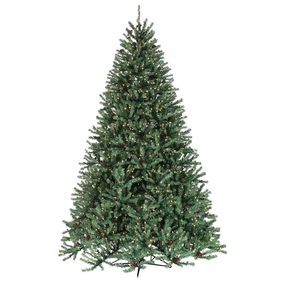 Johnson Pine  7.5' Pre-Lit Permanent Christmas Tree w/Cones & Berries (1,550 Staylit CL)