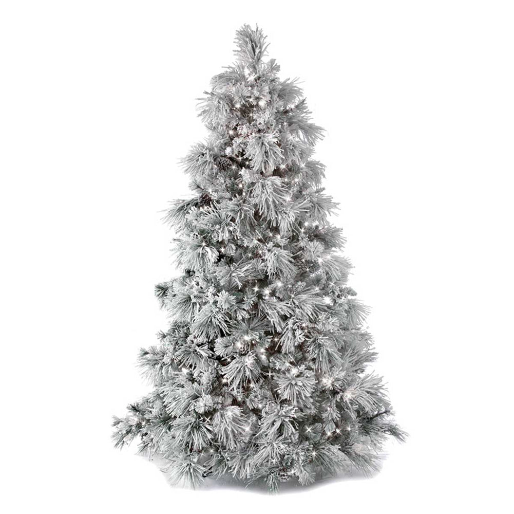 Flocked Long Needle Pine 9' Pre-Lit Permanent Christmas Tree (1,100 LED CL) by Regency Trees - 580FLED
