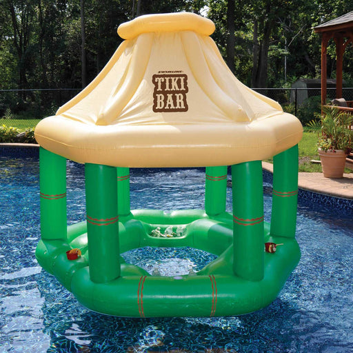 Inflatable Tiki Swim Up Bar Floating  In a Pool