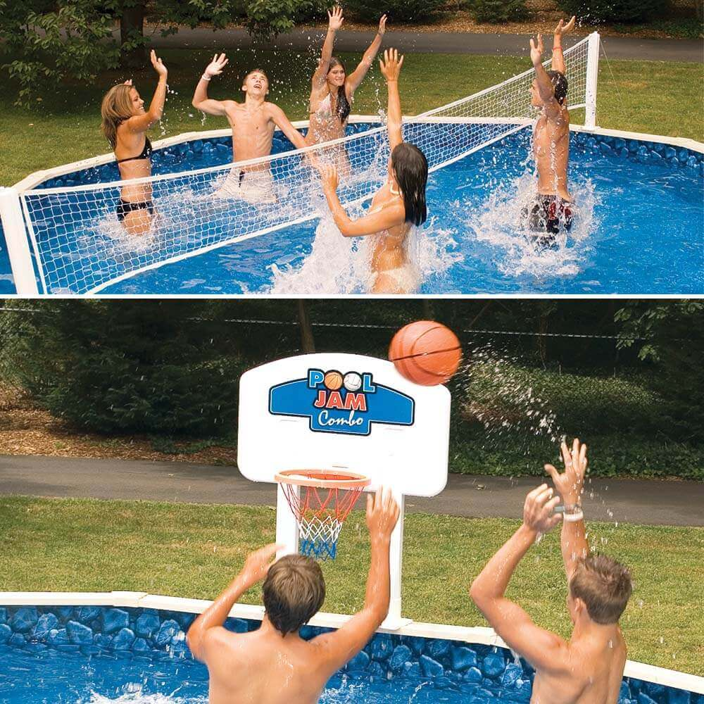 Pool Jam Combo Above Ground Pool Volley Ball & Basketball Game