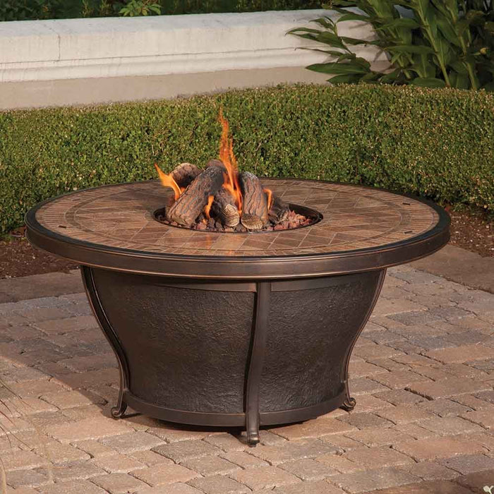 "Balmoral 48"" Round Porcelain Top Gas Fire Pit Table"