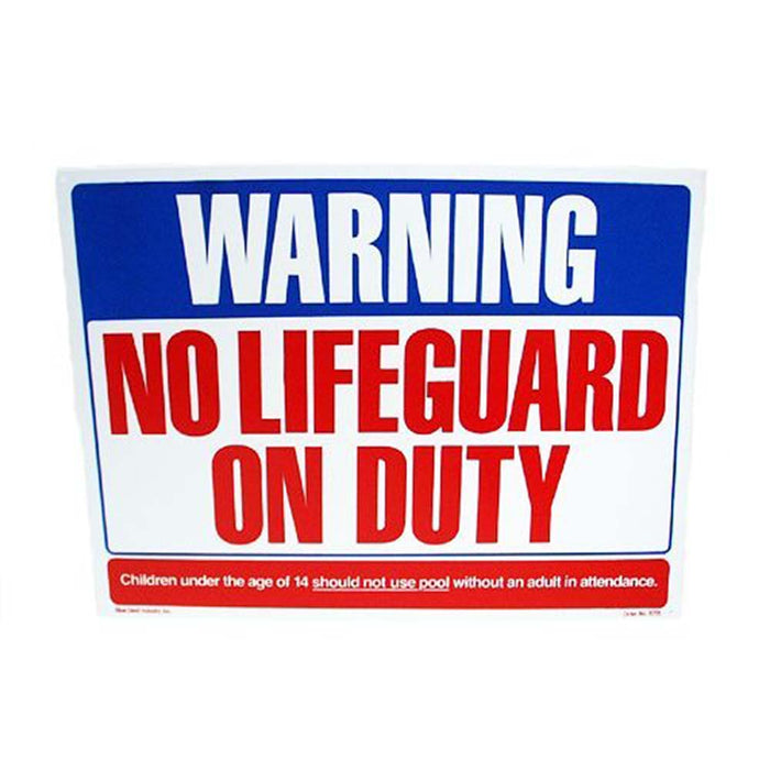 "No Lifeguard on Duty Swimming Pool Sign 24""x18"""